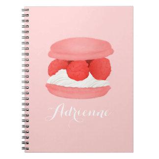 Watercolor Raspberry Cream Macaron Pink Notebook
