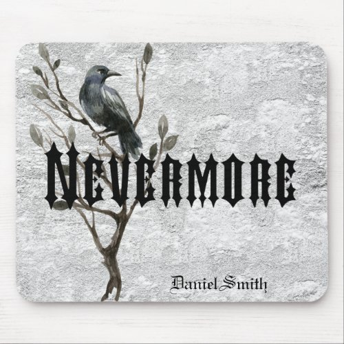 Watercolor Raven Nevermore Mouse Pad