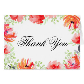 Watercolor Red and Ornage Poppy Flower Thank You Card