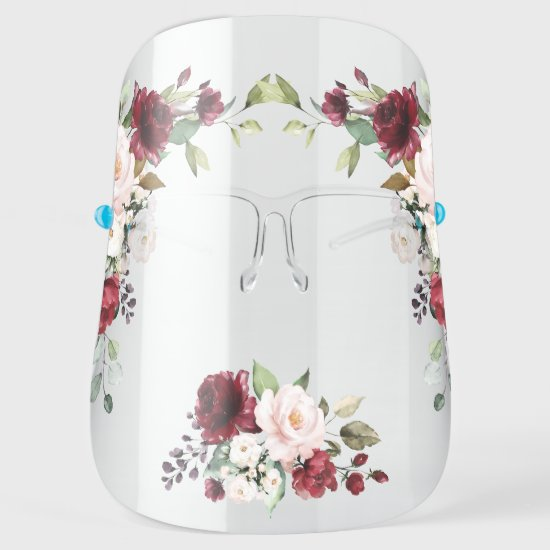 Watercolor Red and Pink Roses Greenery Face Shield