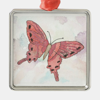 Watercolor Red Butterfly Christmas Ornament