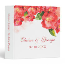 Watercolor Red Coral Floral Wedding Planner 3 Ring Binder