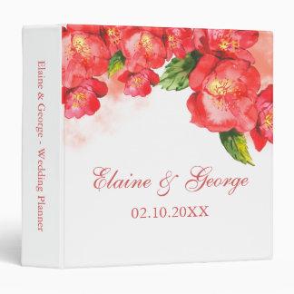 Watercolor Red Coral Floral Wedding Planner 3 Ring Binder