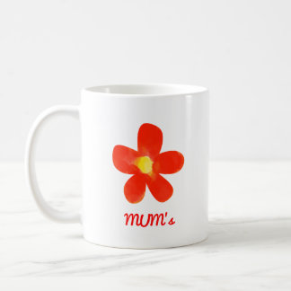 Watercolor red flower White 11 oz Classic Mug