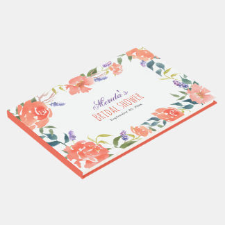 Watercolor Red Flowers Chic Bridal Shower Script Guest Book