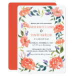 Watercolor Red Flowers Wreath Rehearsal Dinner Card