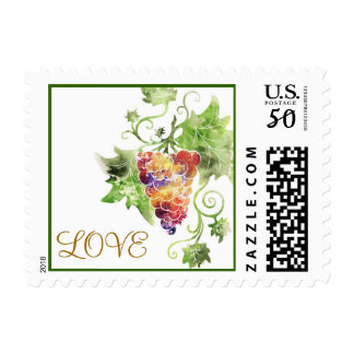 Watercolor Red Grapes Love Postage