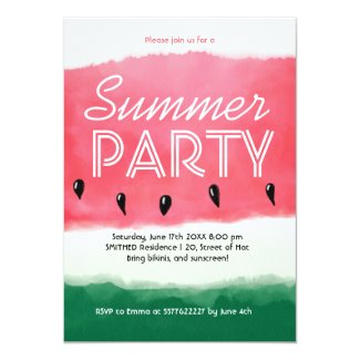 Watercolor red green watermelon summer party invitation