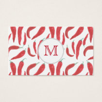watercolor red hot chillies business card