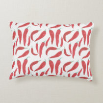 watercolor red hot chillies decorative pillow