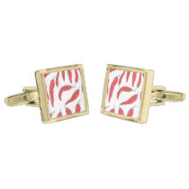 watercolor red hot chillies gold cufflinks