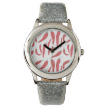 watercolor red hot chillies wrist watch