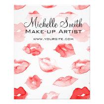 Watercolor red lips pattern makeup branding flyer