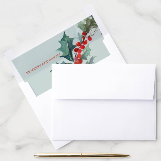 Watercolor Red Pine Green Holy Berries Blue Mint Envelope Liner