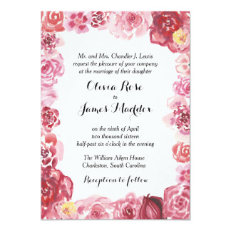 Watercolor Red Pink Rose Frame Wedding Invitation