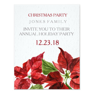watercolor red pointsetter for christmas party card