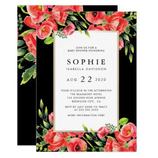 Watercolor Red Poppies Black Floral Baby Shower Card