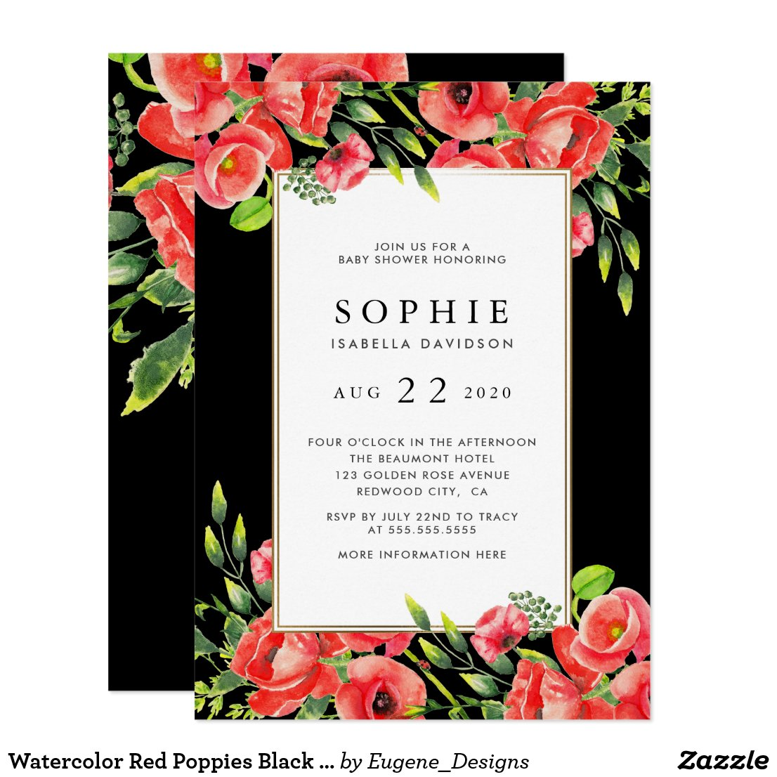 Watercolor Red Poppies Black Floral Baby Shower Invitation