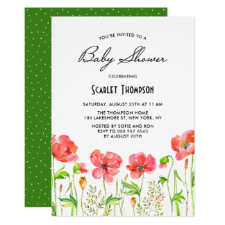Watercolor Red Poppies Garden Baby Shower Card