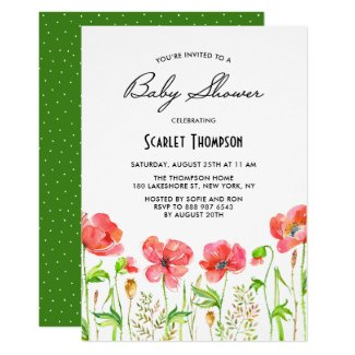 Watercolor Red Poppies Garden Baby Shower Invitation