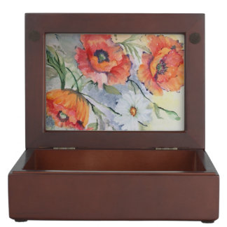 Watercolor red poppies keepsake box