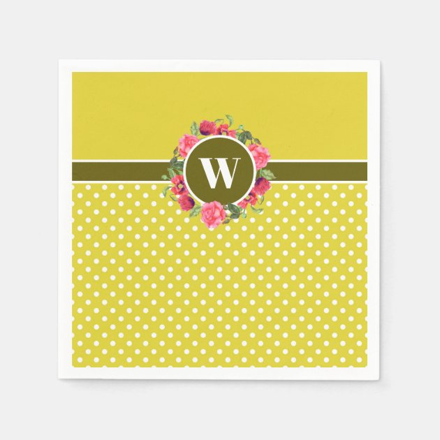Watercolor Red Poppies Pink Rose Wreath Monogram Napkins Zazzle Com