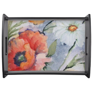 Watercolor red poppies serving platter