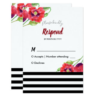 Watercolor Red Poppies Wild Floral Wedding Card