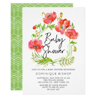 Watercolor Red Poppies Wreath Baby Shower Invitation