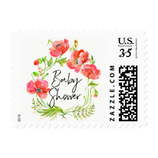 Watercolor Red Poppies Wreath Baby Shower Postage