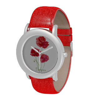 Watercolor Red Poppy Flower Art Watches