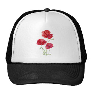Watercolor Red Poppy Flower Floral Painting Hats