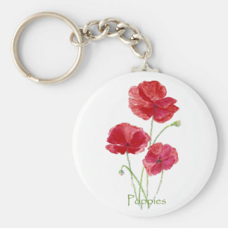 Watercolor Red Poppy Flower Floral Painting Keychain