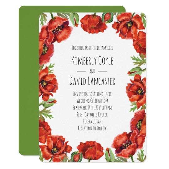 Watercolor Red Poppy Flowers 2 Invitation Zazzle
