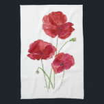 "Watercolor Red Poppy Garden Flower Floral art Hand Towel<br><div class=""desc"">Watercolor Red Poppy Garden Flower Floral art for the gardener in your life</div>"