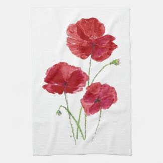 Watercolor Red Poppy Garden Flower Floral art Hand Towel