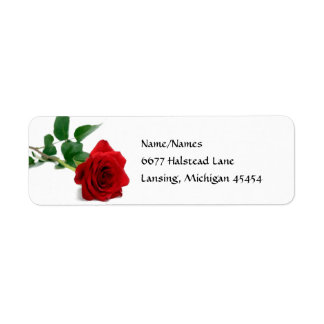 Watercolor Red Rose - Address Labels