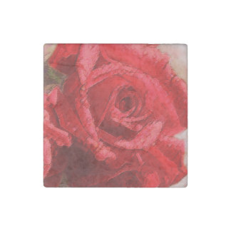 Watercolor Red Rose - Marble Magnet Stone Magnet