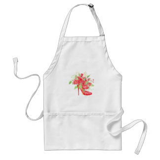 Watercolor Red Rose Shoe Adult Apron