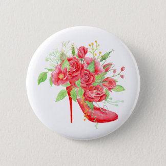 Watercolor Red Rose Shoe Pinback Button