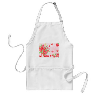 Watercolor Red Rose Shoe Valentine Adult Apron
