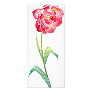 Watercolor Red Tulip Mini Book Mark Rock Card Rack Card Design