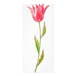 Watercolor Red Tulip Mini Book Mark Rock Card Custom Rack Card