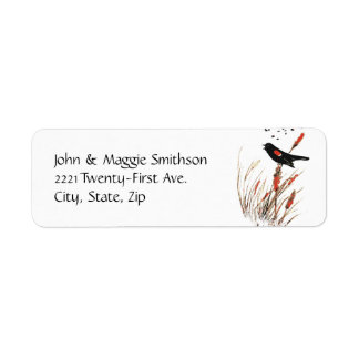 Watercolor Red Wing Blackbird Bird Nature art Label