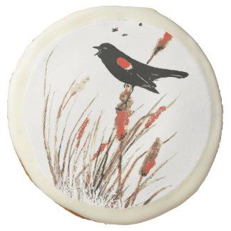 Watercolor Red Wing Blackbird Bird Nature art Sugar Cookie