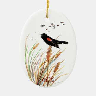Watercolor Red-Winged Blackbird - Bird Collection Ceramic Ornament