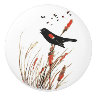 Watercolor Red-winged Blackbird Bird Nature Art Ceramic Knob