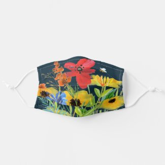 Watercolor Red Yellow Wildflower Garden  Reusable Cloth Face Mask