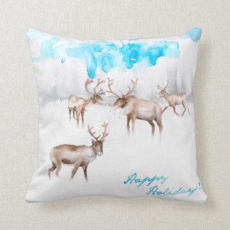 Watercolor Reindeer Pillow