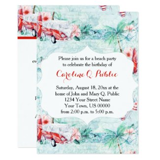 Watercolor Retro Beach Themed Party Invitation
